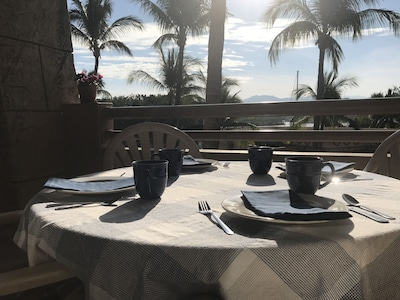 Enjoy your breakfast, lunch or dinner on the large private balcony