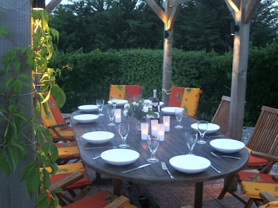 Perfect for evening dining - the pergola is gently lit in the evenings