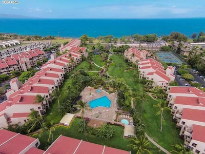 Aerial photo,our unit on left, end Bldg, right above pool,walk to beach