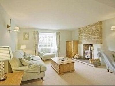 Elegant lounge with log burner
