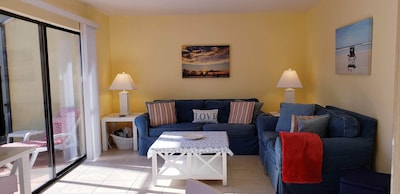 Living Room with queens size sleeper couch and love seat.