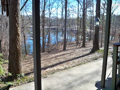View from patio to the lake, docks and marina