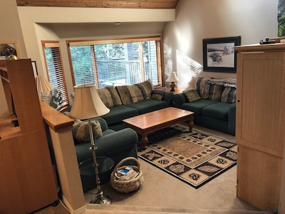 Living Room with Fireplace, 42' HDTV, DVD/VCR