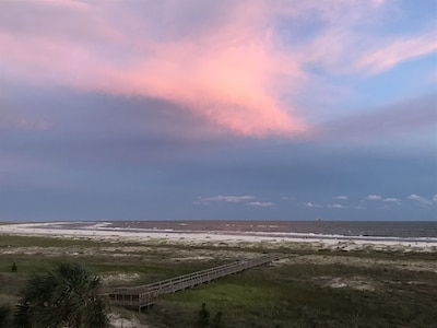 Beautiful pink and blue sky after a rain shower.