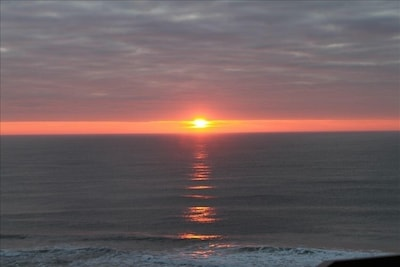 View of sunrise from balcony