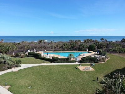 View from the main balcony overlooking pool and ocean