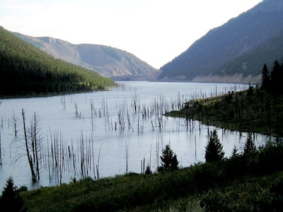 North of town on Hwy 287, Quake Lake was created in '59 by a 7.5 magnitude quake