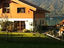 Entrance to the studio with the terrace overlooking Lake Brienz.