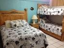 Front bedroom Queen bed with Bunkbeds