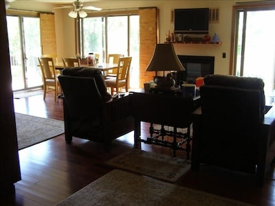 Complete view of the lake from the living room, kitchen, and dining room.