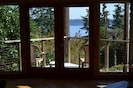 View from inside the cottage to Saratoga Passage
