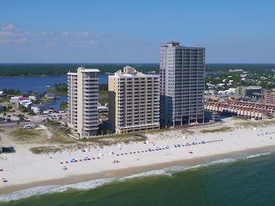Our condo, Island Royale, is in the center. Are we on the beach? Yes.