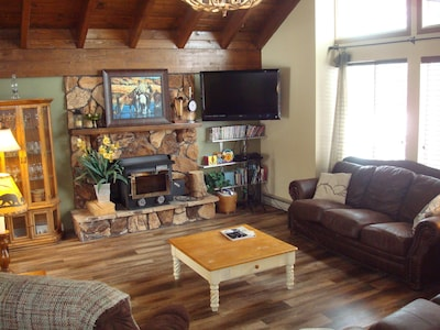 There's a fireplace with wood provided, plus a flat screen tv and dvd library.