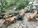 Outdoor Slate Patio with a large fire pit