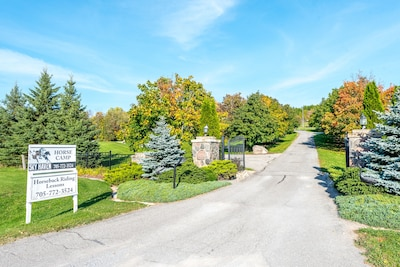 Front gates - your suite is off of the driveway to the left