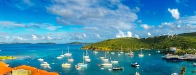 Sweeping view of Cruz Bay and surrounding islands