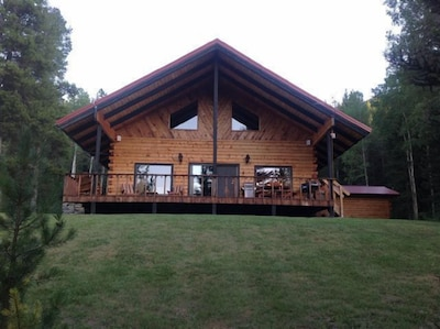 Log home and front yard