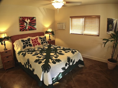 This queen sized bed features high thread count sheets and  a plush pillow top.