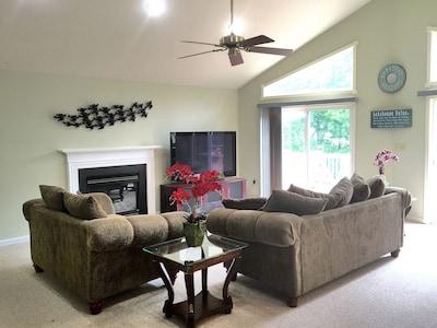 Family room - 65 inch plasma, sofa and loveseat