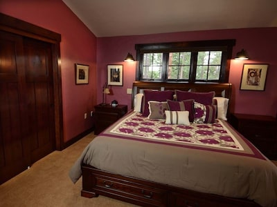 The Hideaway is private and luxurious with an over-sized Cal King bed.