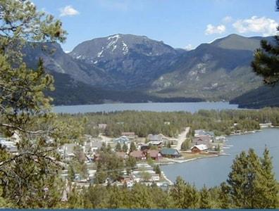 Grand Lake and Mt. Craig (Baldy) at the south entrance to Rocky Mt. Natl. Par...