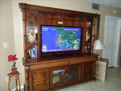 52'' Flat Screen TV in Living Room, cable/entertainment center/books/games, DVDs
