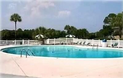 Large pool with kiddie pool is just steps away
