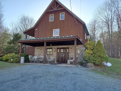 View of cabin as you drive up driveway