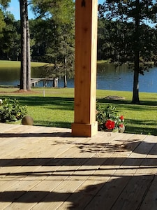 Morning view of the lake from our covered deck.