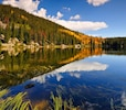 A beautiful image of fall - Kayak to Shadow Mountain from Grand Lake!
