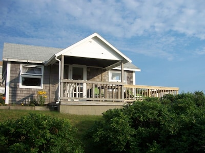 Cottage - side porch (ocean is to the left of deck -steps to sand from here