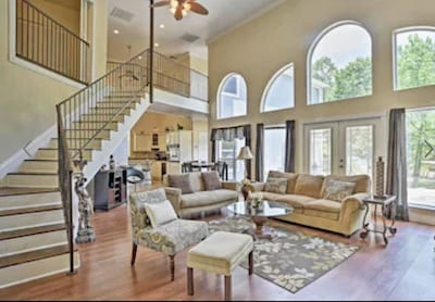 Tall  living room ceiling open floor plan