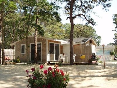 Cabin 7, back deck, outdoor shower
