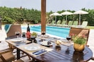 Dining outside at the pool