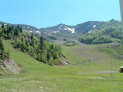 Vue sur la montagne l'été.
