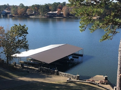 Front row lake views with boat slip furnished. Rentals, Bubbas Brews nearby