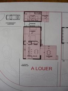 Plan de la location : pavillon et studio indépendant.