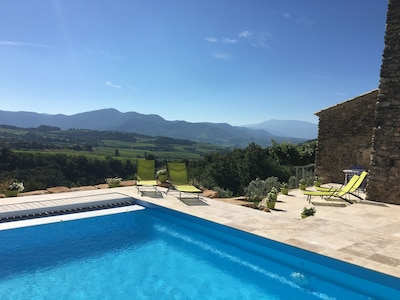 View from the pool towards Mont Ventoux
