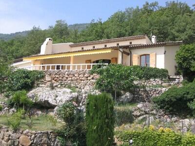 Blick zum Haus vom Pool