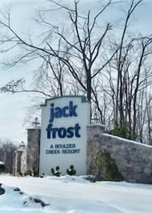 Jack Frost Mt. entrance to resort and Snow Ridge Village