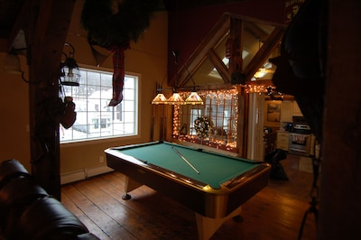 pool table looking back at kitchen