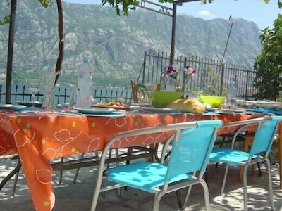 Lunch terrace with beautiful view over the fiord