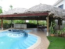 Very large gazebo with large swimming pool and in-set jacuzzi/whirlpo to cool of