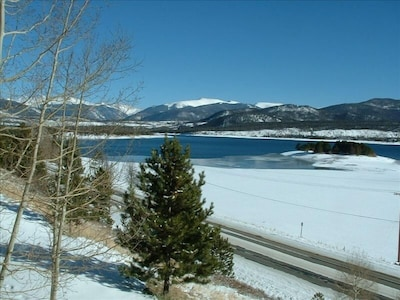 Enjoy spectacular views of Lake Dillon and the mountains looking out our unit