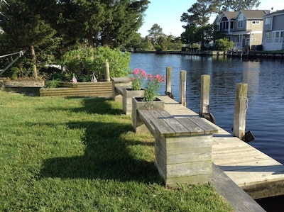 Long dock for your personal or rented boat; benches in front of dock