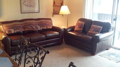 New Leather Sleep Sofa and Loveseat