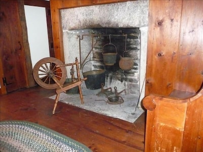 antique fireplace in great room