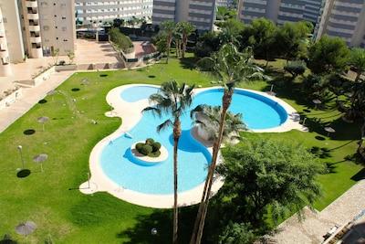 Schitterend uitzicht op tropisch zwembad en palmentuin vanaf terras op 7e verd.