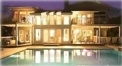 Night View of House and Pool