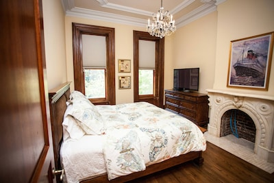 Master Bedroom with King bed and view of Van Vorst Park